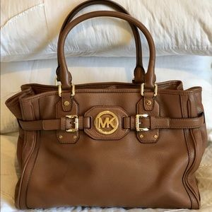 NEW MICHAEL KORS HUDSON TOTE BROWN LEATHER SATCHEL
